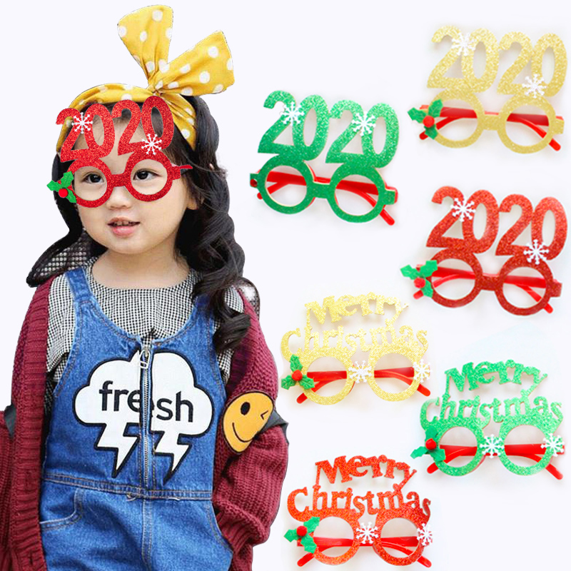 2020 New Year Glasses Gifts Merry Christmas Eve Decorations Party For Home Ornaments Decor Xmas Tree Santa Claus Deer Snowman