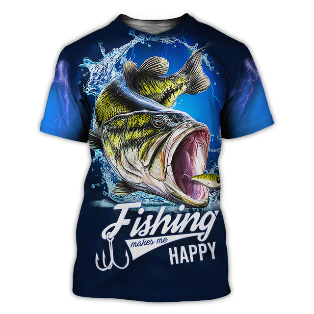 Bass happy Fishing T Shirt All Over Print