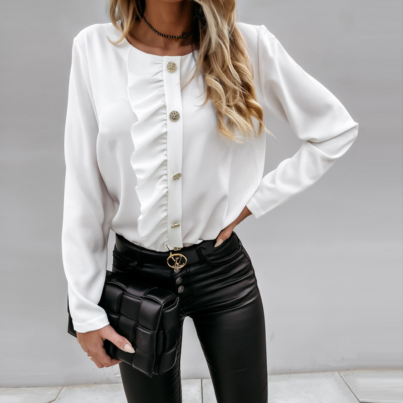 2020 Autumn Winter Ruffles Women Shirt Blouse Long Sleeve V-Neck Tops Shirts Lady Flared Sleeves Blouses Female Loose Top Blusa 9