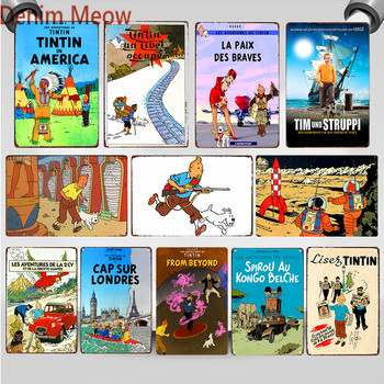 цена The Adventures of Tintin and Dog Vintage Metal Signs French Cartoon Movie Rocket Poster Club Bar Cafe Art Craft Home Decor WY75 онлайн в 2017 году