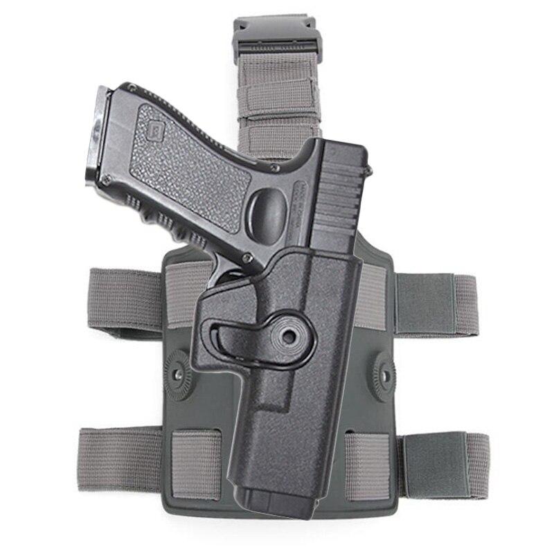 Tactical gota perna coxa arma coldre para glock 17 18 19 22 26 43 airsoft pistola coldre plataforma caça acessórios com engrenagem