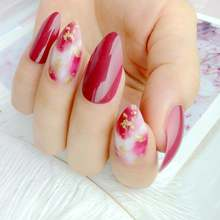 24 шт винно красные искусственные накладные ногти Цветущий градиент
