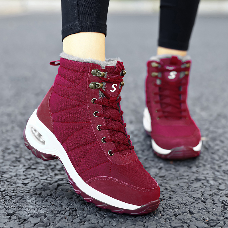 Winter Shoes Woman Snow Boots Warm Fur Plush Insole Boots Flock Ankle Boots Women Shoes Lace-up Lightweight Sneakers Women 11