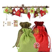 24 шт. Рождественский календарь обратного отсчета мешок конфеты шоколадный мешок льняной мешок для хранения для детей подарок Рождественское украшение