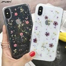 Настоящие сухие цветы чехол для iphone 7 8 Plus X чехол для iphone 11 Pro XR X XS Max 8 7 6S 6 Plus чехол силиконовый чехол для телефона s