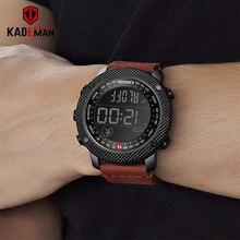 KADEMAN Men Watch Leisur Sport Digital Army Step Count Waterproof Leather Hand Clock Top Brand Male Wristwatch Relogio Masculino