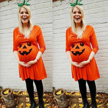 Pregnant Womens Long Sleeve Dress Nursing Nightgown Pregnancy Halloween Devil Print Dress Clothes For Photo Shoot(China)