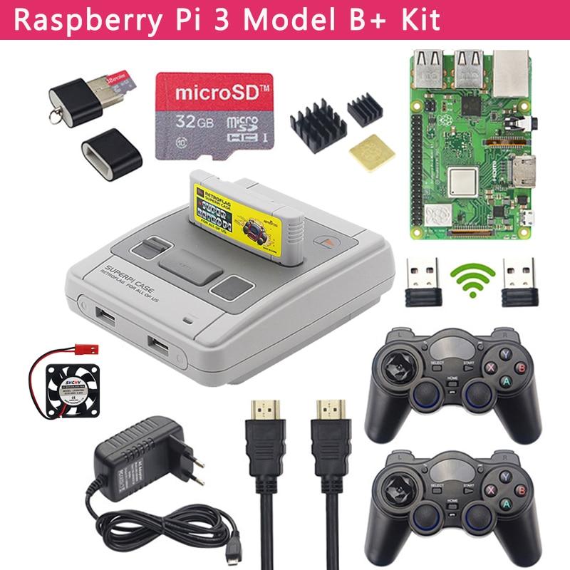 Raspberry Pi 3 Model B+ Game Kit + Wireless Gamepads + 32GB SD Card + Power Adapter + HDMI  Retroflag SUPERPi Case for RetroPie(China)
