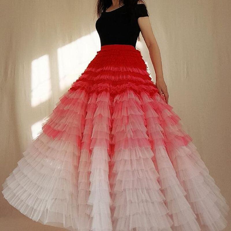 High Street Pink Chic Tiered Ruffles Women Tulle Multi Skirts Long Fashion Adult Skirt Elastic Style Female Maxi Skirts Custom