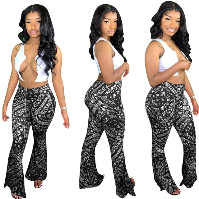 Adogirl S-2XL Women Casual Bandana Print Flare Pants 2020 New Fashion Sexy Foot Cut Bell Bottomed Trousers Night Club Outfits 2