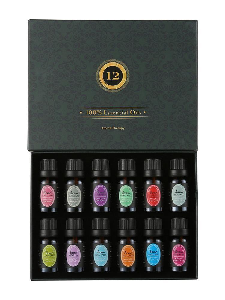 12Pcs 100% Reine Natürliche Aromatherapie Öle Kit 10ml Für Luftbefeuchter Wasser-löslich Duft Öl Massage Ätherisches Öl set