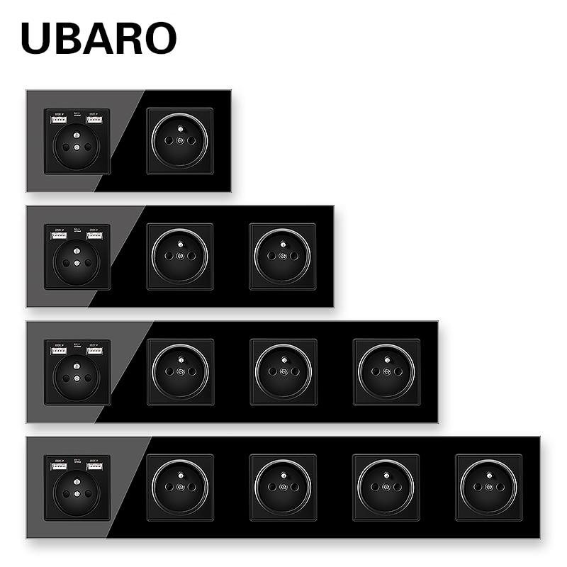 UBARO French Standard Black Crystal Glass Wall Panel Socket Prise Enchufe Plug Sockets With USB 5V 2100mA AC100-250V16A Outlet