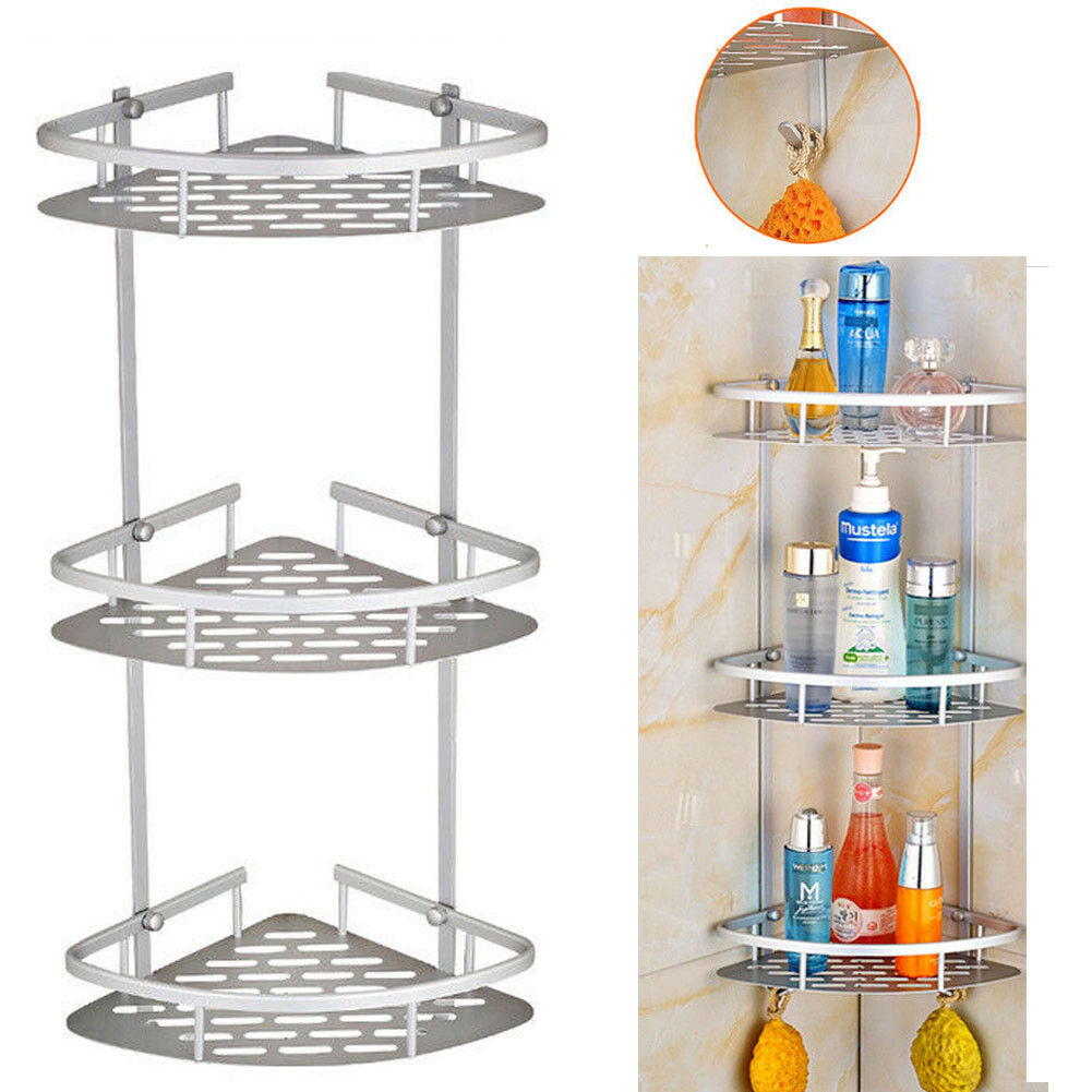 2 And 3 Tier Corner Storage Holder Shelves Bathroom Shampoo Shower Kitchen Storage Rack Organizer Bath Accessory Sets