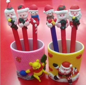 Image 4 - 20pcs/lot Kawaii Christmas Theme Ballpoint Pen , Polymer Clay Santa Claus and Snowman Series ball pen as Writing Stationery