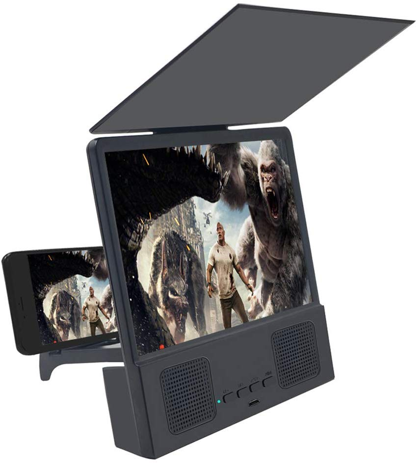 Lupa de pantalla de 8 pulgadas para teléfonos inteligentes, amplificador de películas con Altavoz Bluetooth, proyector portátil HD con soporte plegable Vidrio templado para zte Blade A330 A521 A520 A520C L8 A6 A610 V7 Lite V9 Vita película protectora de pantalla