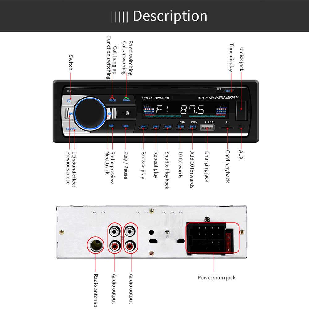 FM トランスミッター車 MP3 プレーヤー JSD-520 デュアル USB Bluetooth カーラジオ 1Din ステレオリモートコントロールカーオーディオ AUX-IN ISO TF MP3 プレーヤー