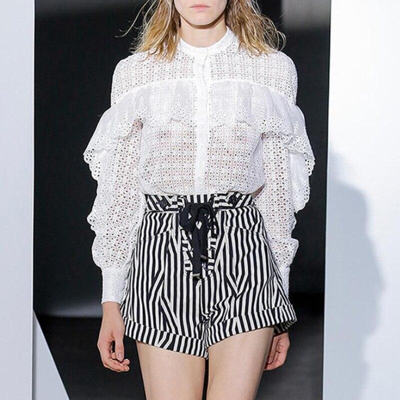 Runway Designer Mulheres Primavera Outono Conjunto de Manga Comprida Oco Out Lace Blusa Branca Tops e Listrado Calções de Design de Moda Ternos