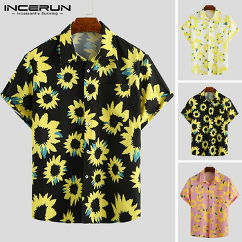 INCERUN 2020 Summer Men Hawaiian Shirt Floral Print Streetwear Loose Lapel Casual Blouse Short Sleeve Vacation Camisa Plus Size plant flowers safflower green leaves floral blouse men short sleeve social shirt summer hawaiian style casual shirt for men