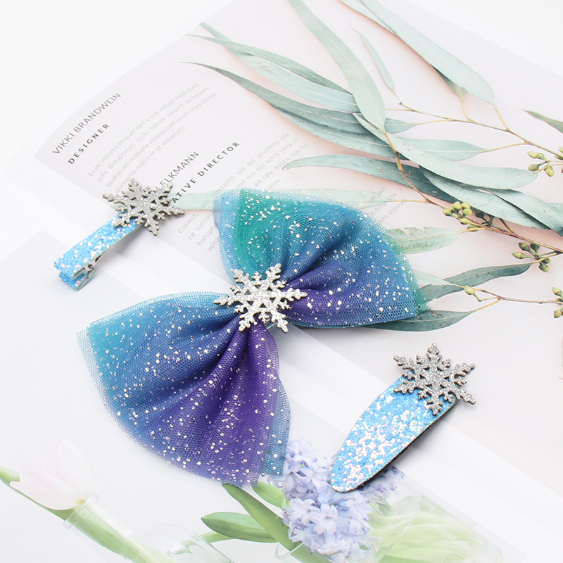 3 Pcs/set Snowflake Girls Hair Pins Shiny Glitter Hair Clip Bow Lace Starry Bow Dreamy Mermaid Unicorn Hair Clips Kids Cute