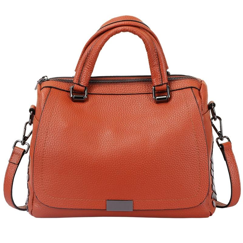 Durable Casual Boston Bag 100% Genuine Leather Women Hand Bag Brand Designer Women Messenger Bags Elegant Top Handle Tote