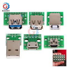 Micro Mini USB USB A Male USB 2.0 3.0 A Female USB B Connector Interface to 2.54mm DIP PCB Converter Adapter Breakout Board(China)