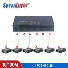 مفتاح إيثرنت سريع تحويل 20 كجم إيثرنت الألياف محول وسائط بصرية واحدة وضع 2 RJ45 و 6 SC الألياف ميناء 10/100M