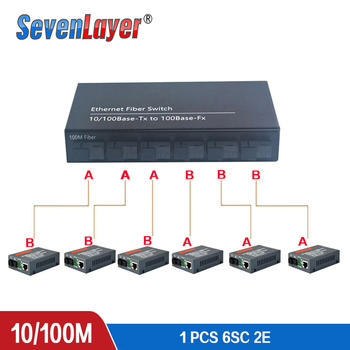 Fast Ethernet switch Converter 20KM Fiber Optical Media Single Mode 2 RJ45 and 6 SC fiber Port 10/100M
