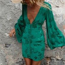 Flare Sleeve Summer Boho Dress Women Sexy V Neck Singles Breasted Green