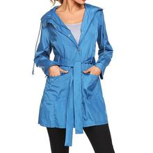 Laamei damskie kurtki turystyczne podstawowe wodoodporne płaszcze outdoorowe damskie kurtki wiatrówki z kapturem i kurtki z pasem tanie tanio Długi Luźne Osób w wieku 18-35 lat V-neck zipper Na co dzień Pełna REGULAR Women Jackets STANDARD NYLON Skrzydeł Kieszenie