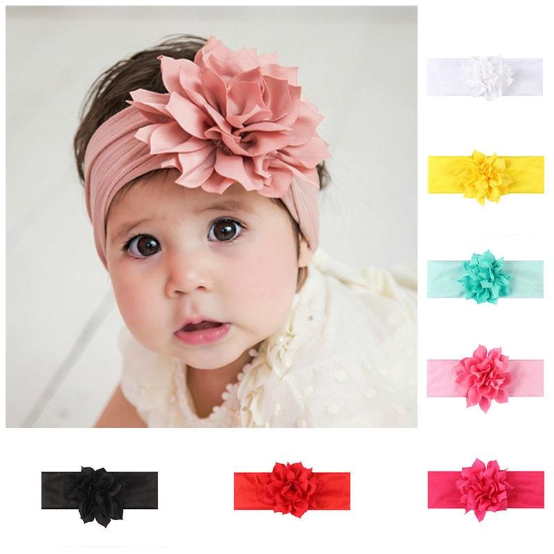Милая Детская повязка на голову, повязка на голову с цветком и бантом для новорожденных девочек, эластичная повязка на голову для малышей, а...