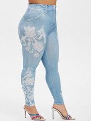 Plus Größe Blume Drucken Dünne Jeggings Sexy Hohe Taille Jeggings Frauen Hosen Lange Hosen Casual Fitness Leggings 2019