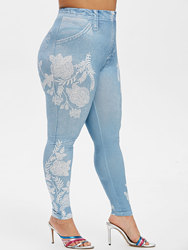 Plus Size Flower Print Skinny Jeggings Sexy High Waisted Jeggings Women Trousers Long Pants Casual Fitness Leggings 2019