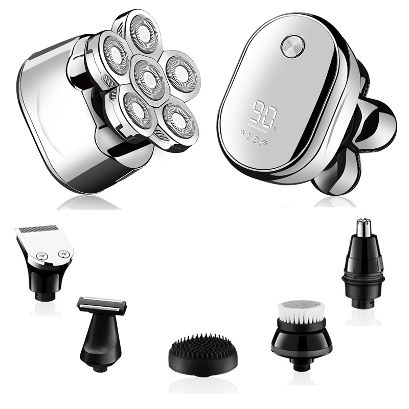 6in1 grooming kits electric shaver facial body electric razor for men beard wet dry rotary shaving machine bald rechargeable kit 1