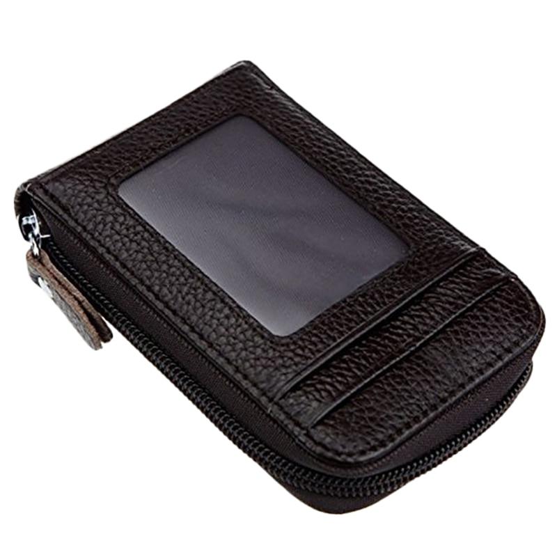 Men's Leather Credit Card Wallet Holder RFID Blocking Zipper Thin Pocket