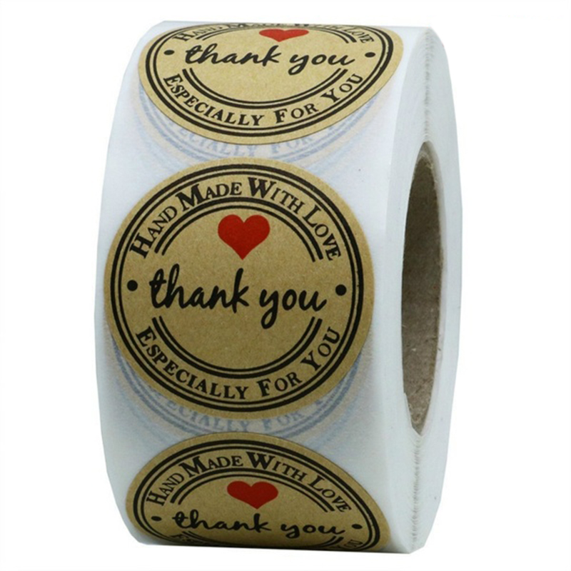 1 Inch Round Kraft Paper Thank You Hand Made With Love With Red Heart Stickers Total 500 Adhesive Labels Per Roll