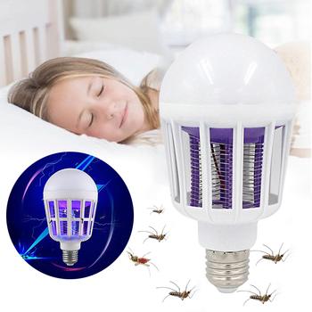 220V E27 żarówka LED 9W lampa przeciw komarom 2 W 1 pułapka na komary do zabijania owadów żarówka muchy robaki Zapper lampka nocna dla dziecka tanie i dobre opinie oobest CN (pochodzenie) 1-5m Purple light 110-240 v Purple lights Purple light bulb ultraviolet light lamp Quiet Healthy
