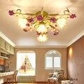 Американский Ретро фиолетовый розовый потолочный светильник для гостиной  столовой  спальни  современный пасторальный светодиодный потол...