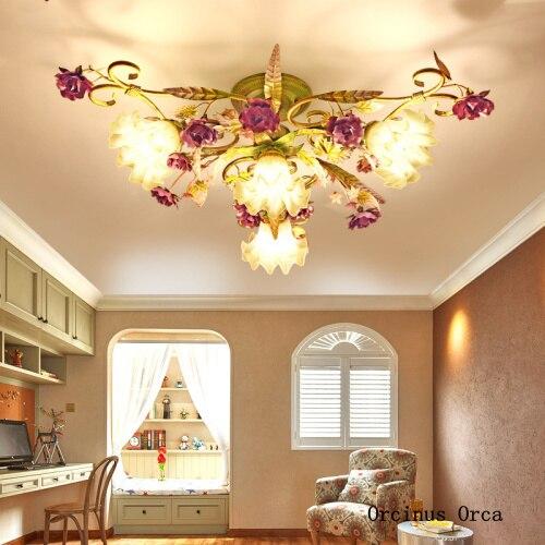 アメリカのレトロな紫のバラ天井ランプリビングルームダイニングルームベッドルーム現代牧歌 led 色の花と草天井ランプ