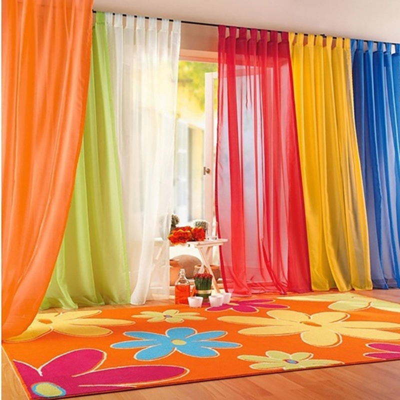 Rainbow-Curtain Valances Panel Door Sheer Bedroom Window Tulle Living-Room Modern New title=