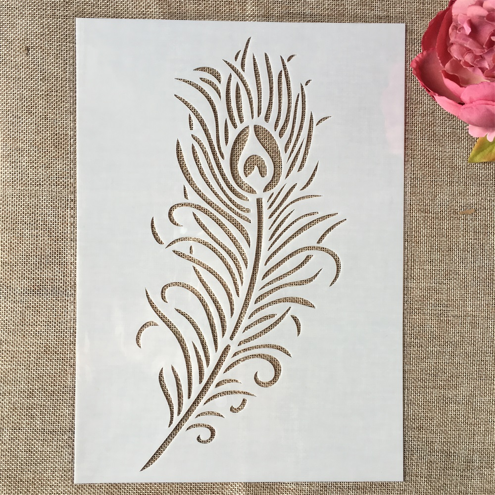 29cm A4 Big Peacock Feather DIY Layering Stencils Wall Painting Scrapbook Coloring Embossing Album Decorative Template