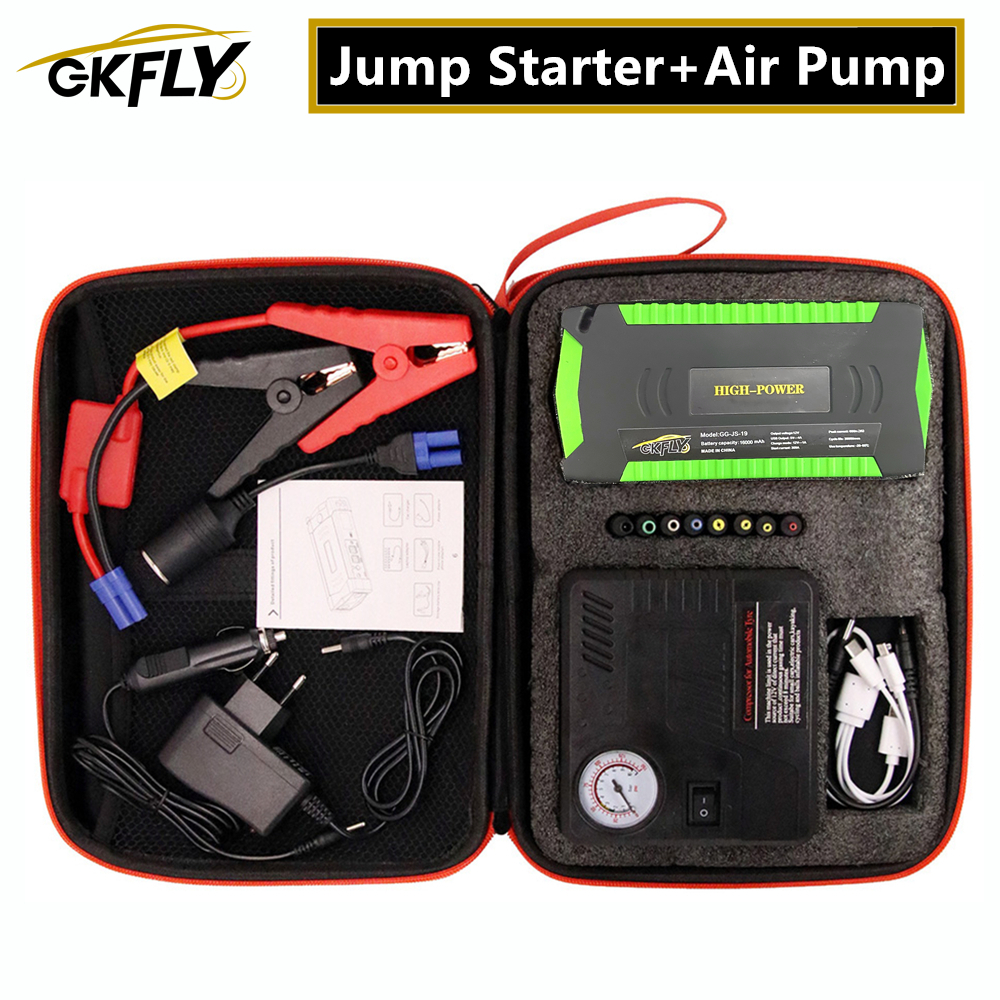 GKFLY Super Power Starting Device 12V 600A Car Jump Starter Air Pump Compressor For Petrol Diesel Car Battery Charger Booster