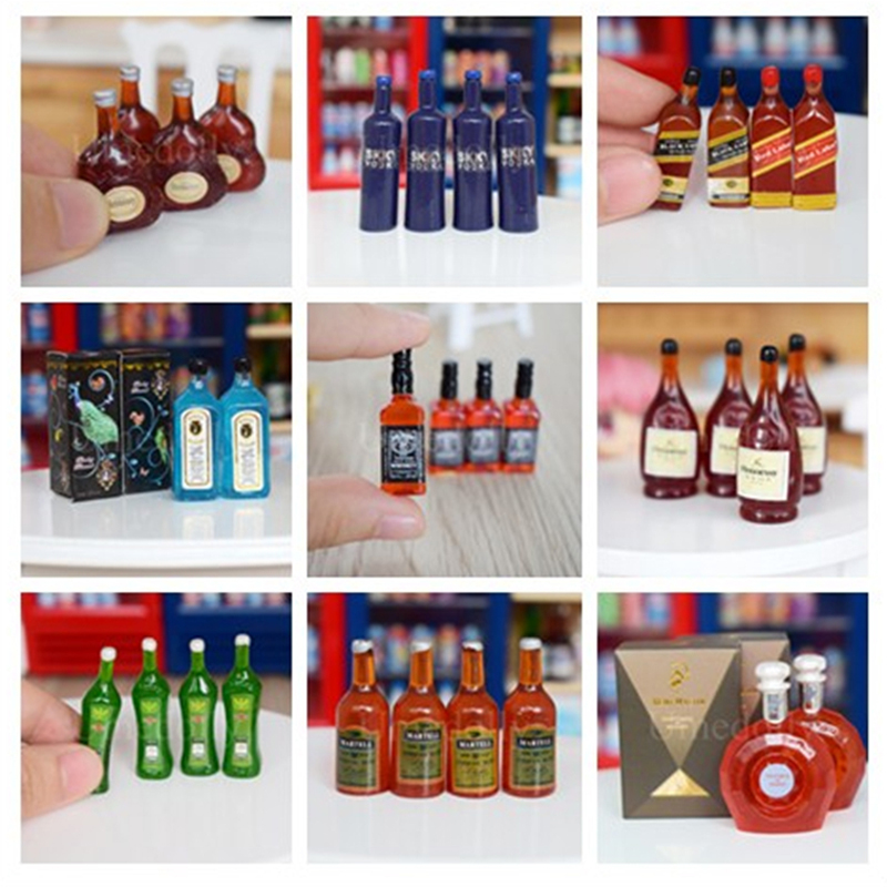 10Pcs Dollhouse Miniature Wine Bottles Pretend Play Toys Doll Dr P1