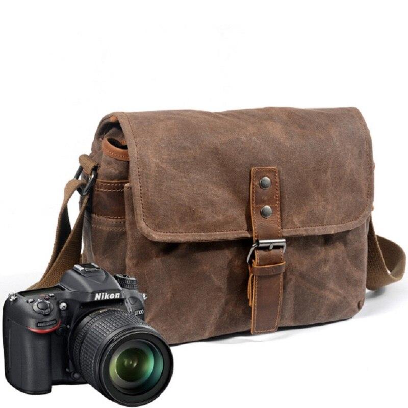 Rétro étanche sac photo paquet de photographie DSLR étui à bandoulière pour Sony Nikon Canon toile Micro unique messager hommes