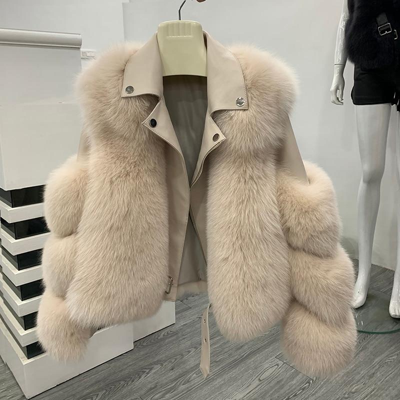 ZDFURS* 2019 Winter New Style Aviator Fashion Fox Fur Jacket Woman Genuine Leather Natural Fur Coat With Belt