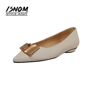 ISNOM 2020 Women Flats Shoes Woman Leather Liner Flat Shoes Ladies Metal Decor Pointed toe Flats Boat Shoes Female Slip on