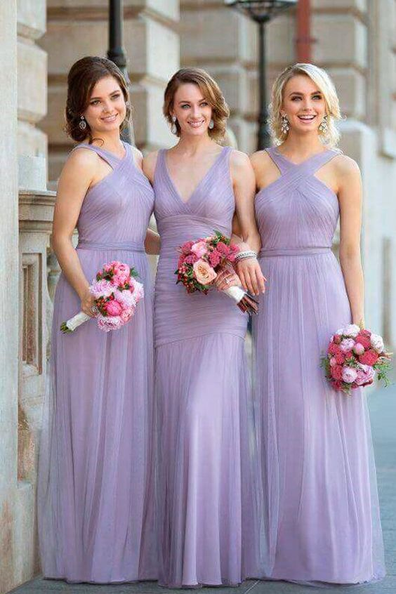 Lilac Tulle Bridesmaid Dresses Floor Length Maid Of Honor Dress For Wedding Women Prom Party Gowns  vestido dama de honor