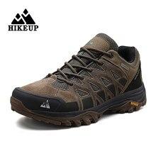 Hikeup homens caminhadas sapatos de escalada masculino sapatos esportivos trabalho segurança toe tático antiderrapante durável trekking tênis de couro masculino