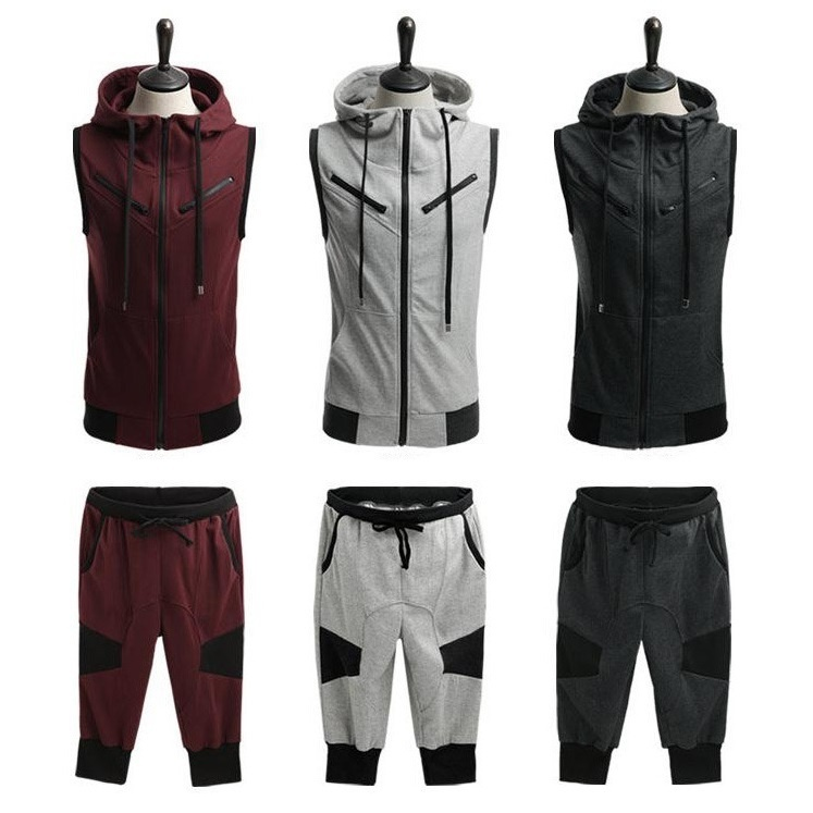 ZOGAA 2019 Hot Sale Men Summer Hoodie Sleeveless Sweatshirt Set Drawstring Solid Calf-Length Tracksuit Mens 2 Piece Sportswear