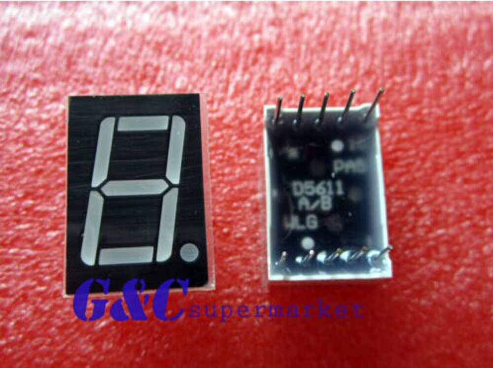 10 Pcs 0.56 Pollici 1 Digit Display a Led Blu 7 Segmenti Catodo Comune di Elettronica Fai da Te