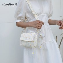 Tote Floral Handbag Daisy-Print Retro Messenger-Bag Girl Bag Casual-Bags Women Canvas